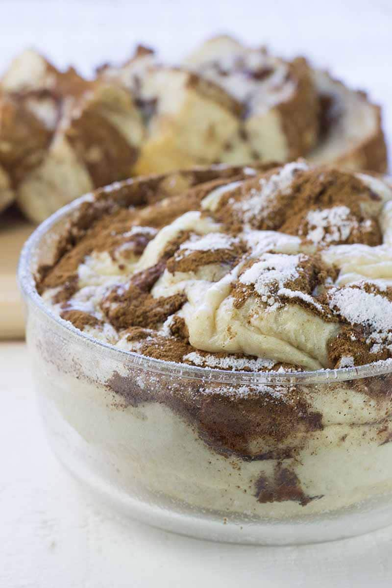 Cinnamon swirl protein cake in glass pan