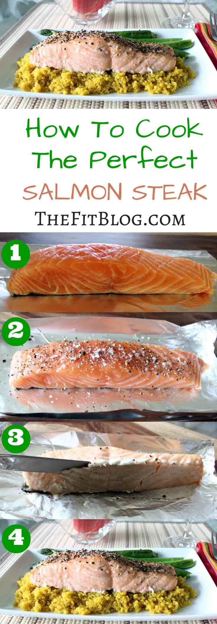 This is my favorite way to cook a salmon steak that is easy enough that anybody can do it and will give a great result every time.