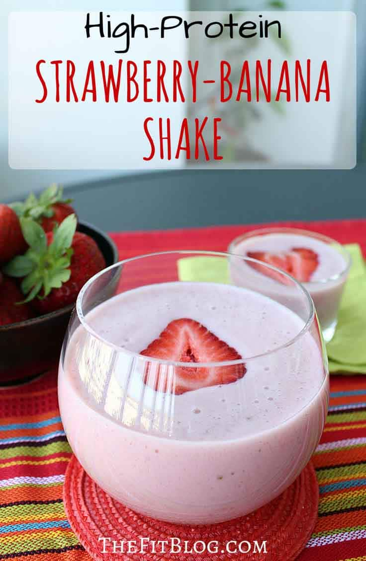 This high protein strawberry-banana shake is one of my favorites, because it's super easy to make, has all the protein required for a healthy fitness shake, and taste delicious.