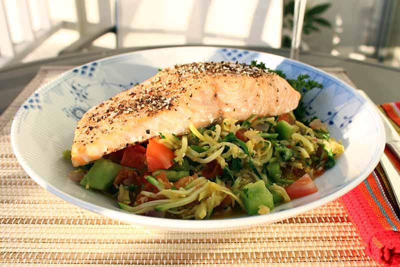 Salmon with squash and zucchini pasta
