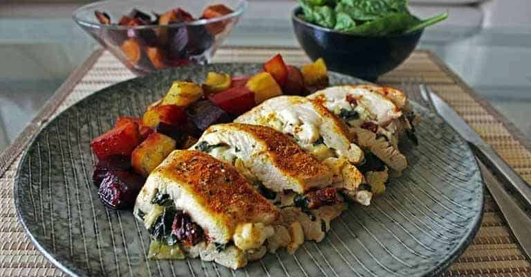 I could eat this stuffed chicken breast every single day right now. It's super tender, taste fantastic, and is a healthy meal all by itself. You don't really need any sides, except for perhaps a small salad.