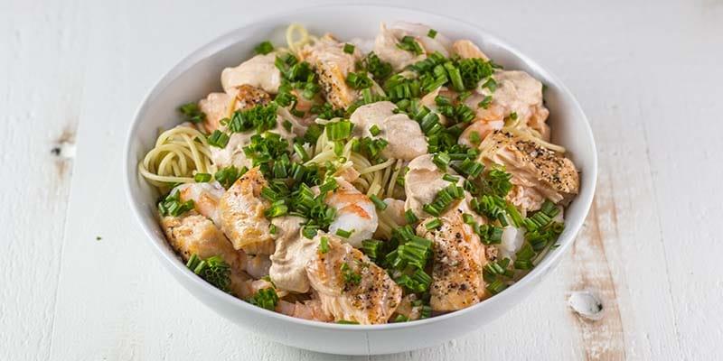 Salmon & Shrimp Pasta