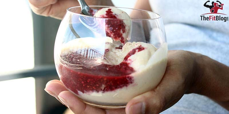 Peanut Butter Ice Cream With Raspberry Jam