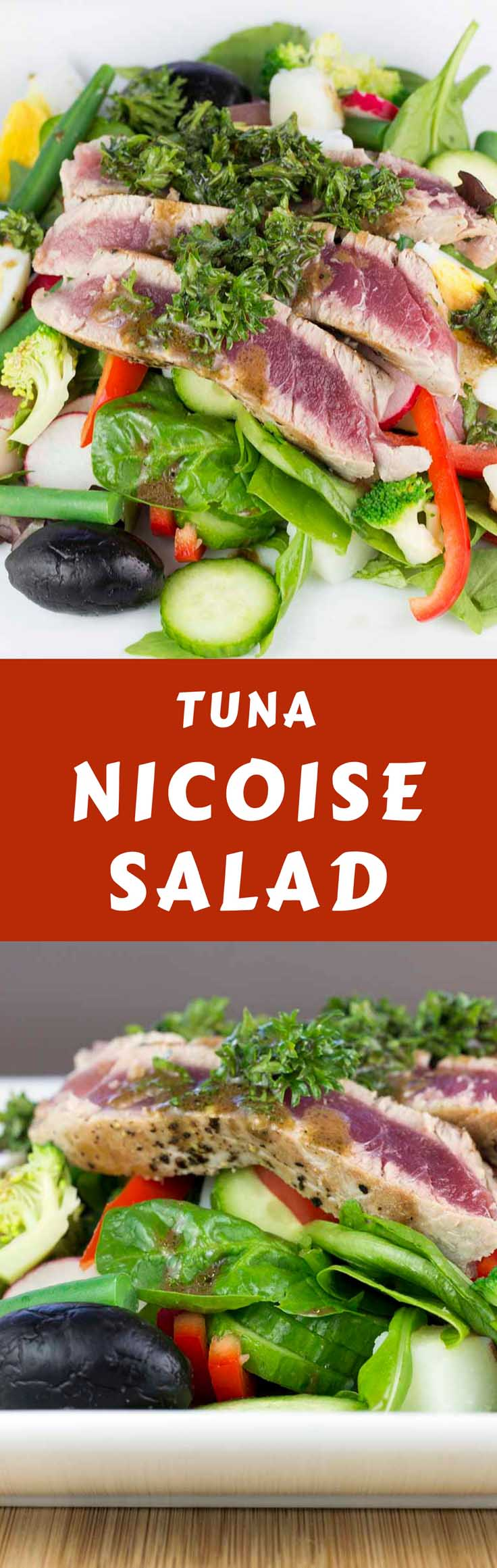 A fresh take on the classic Tuna Nicoise Salad with a slightly spicy parsley and mustard dressing. Super healthy and easy to make. #saladnicoise #lowcarbsalad #ahituna #proteinsalad