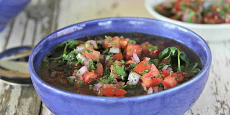 Black Bean Soup with Lime Salsa - Black bean soup is a filling meal in itself. Combining it with fresh, seasonal vegetables and topped with a refreshing, lime-based salsa, it makes a healthy lunch or dinner and is an easy way to make a satisfying and budget friendly vegetarian meal.