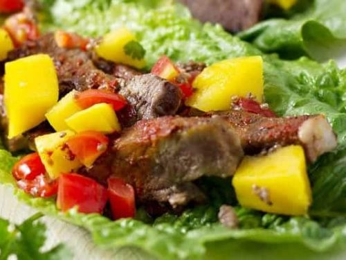 Slow Cooker Chili Lime Beef Tacos With Mango Salsa - Who said tacos need a corn tortilla taco shell, cheese, and a bunch of junk anyway? These beef tacos are healthy and delicious│TheFitBlog.com