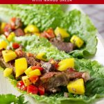 Slow cooker beef lettuce wraps with mango salsa