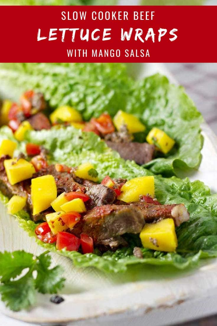 These Beef Lettuce Wraps with Mango Salsa are packed with flavor! They're also super easy to put together and only take a couple of hours in the slow cooker. #slowcooker #lettucewraps #beef