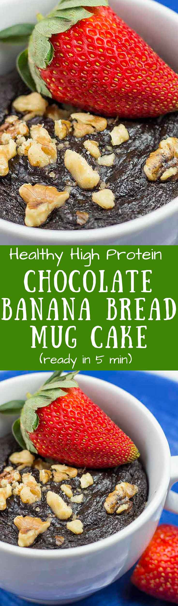 This Chocolate Banana Bread Mug Cake is healthy, high-protein, only takes a few minutes to make, and tastes amazing! It's a great breakfast or post-workout snack.