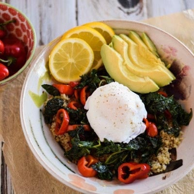 Quinoa With Kale, Peppers, and Poached Egg - It's hard to believe this gorgeous recipe is so good for you. It's full of protein and easy to prepare.