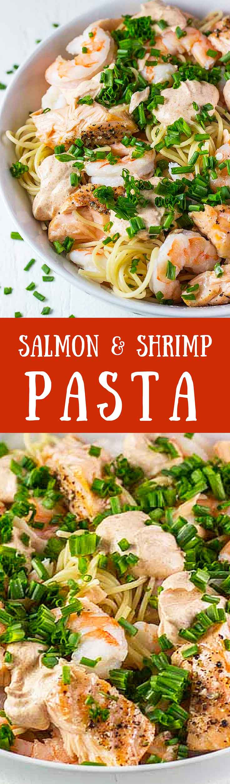 This Salmon & Shrimp Pasta is my favorite easy and healthy pasta recipe. It takes less than 20 minutes to make and is full of delicious protein and healthy fats │ TheFitBlog.com