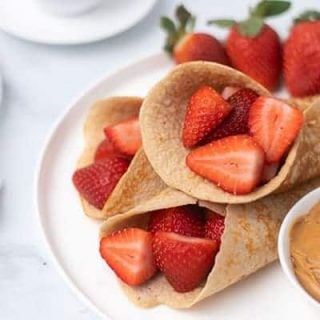 pancakes with berries and peanut butter