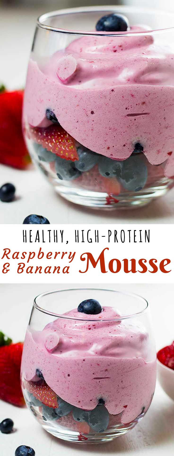 High-Protein Raspberry & Banana Mousse is the perfect high protein snack, and has a thick silky consistency (like thick whipped cream) without any of the unhealthy ingredients you usually find in anything as good as this.