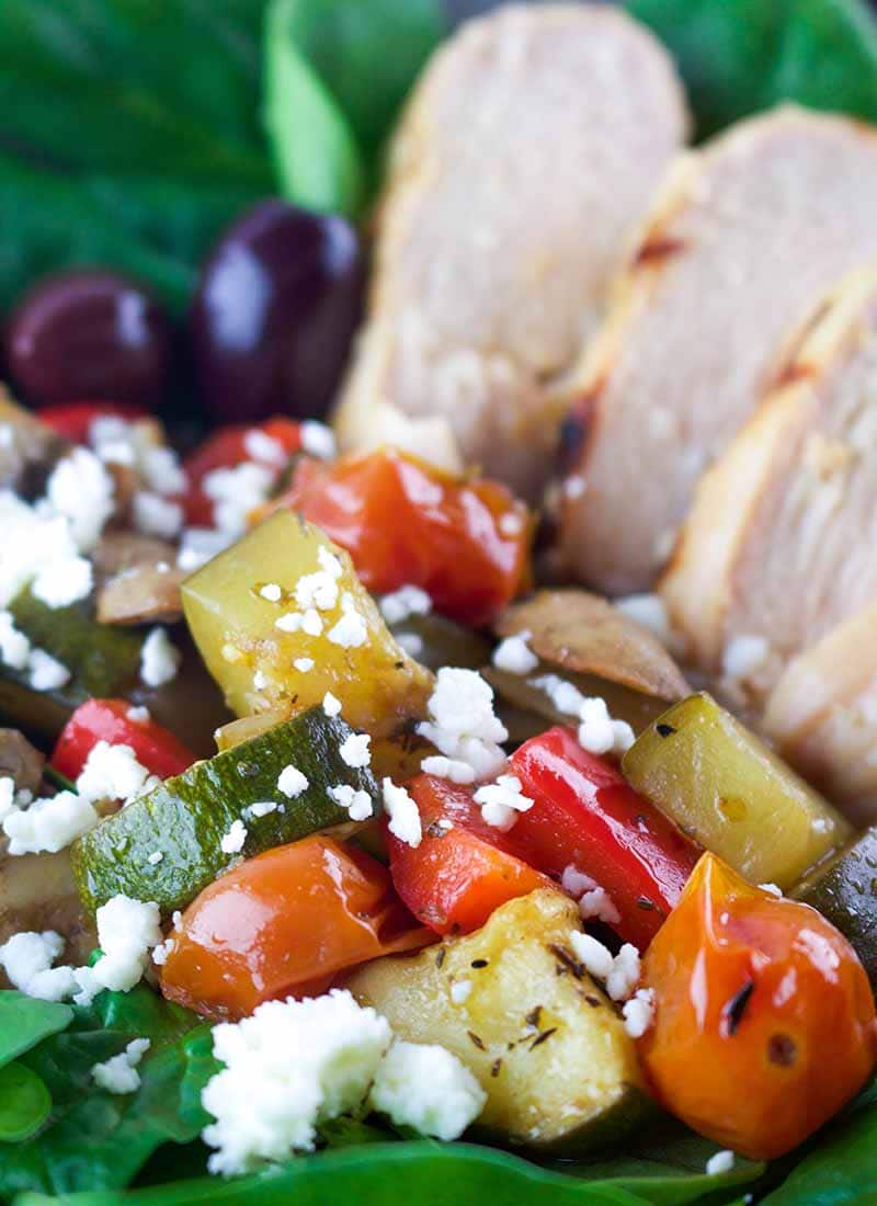 Tzatziki Chicken with Balsamic Roasted Veggies is an easy and healthy dinner you can have ready in about 40 min. if you marinate the chicken in advance. High in protein and delicious flavors.