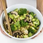 Bowl of turkey stir-fry with broccoli