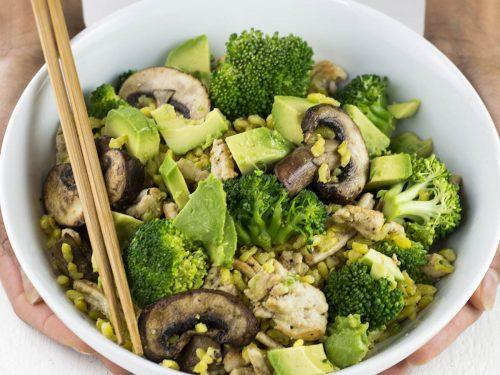 Bowl of turkey stir-fry with broccoli