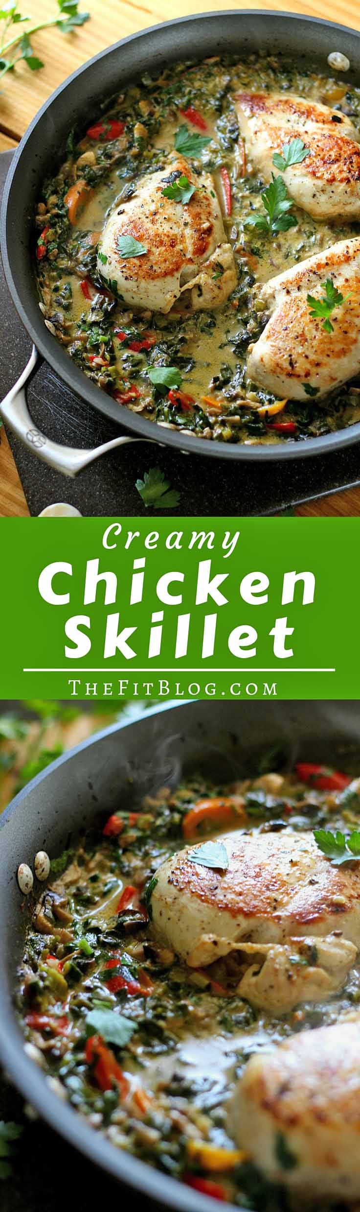 Smothered Creamy Skillet Chicken – This recipe is the perfect mix of healthy and delicious! It's creamy and flavorful while still being high-protein, low-carb, and low-fat {Gluten-Free, Clean Eating, Diabetes Friendly}