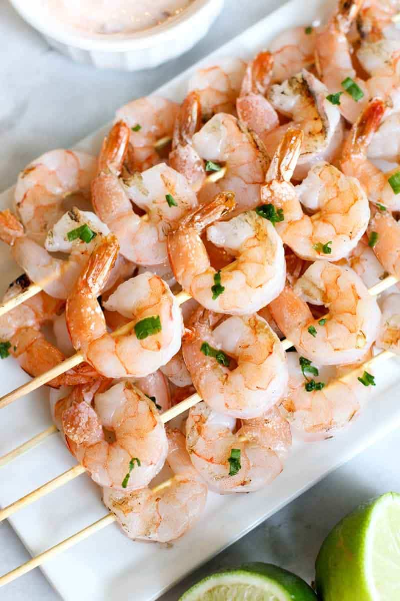 These Grilled Shrimp Skewers with a Creamy Chili Sauce One is of the easiest, healthiest, and tastiest things to make on the grill!