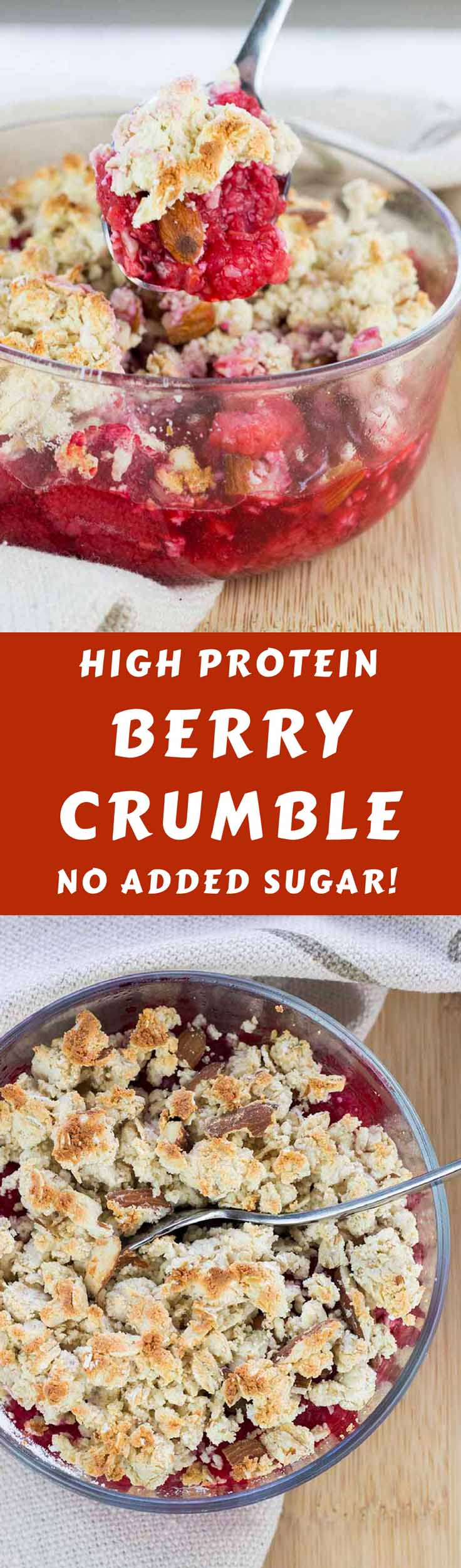 Have cake for breakfast (or any other time of day) with this tasty High Protein Berry Crumble! It's high protein, gluten free, and contains no added sugar. It's a perfect healthy breakfast, healthy dessert, or healthy snack. #healthyeating #healthyrecipes #lowcarbcake #diabetesdiet #diabetesrecipes #diabeticdiet  #diabeticfood #diabeticrecipe #diabeticfriendly #lowcarb #lowcarbdiet #lowcarbdessert #lowcarbbreakfast