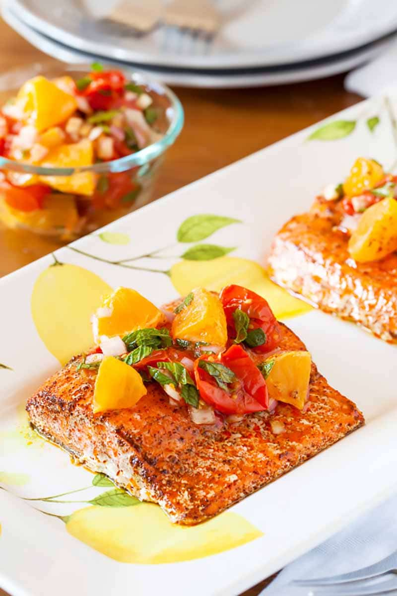 Spicy Salmon with Roasted Tomato salsa