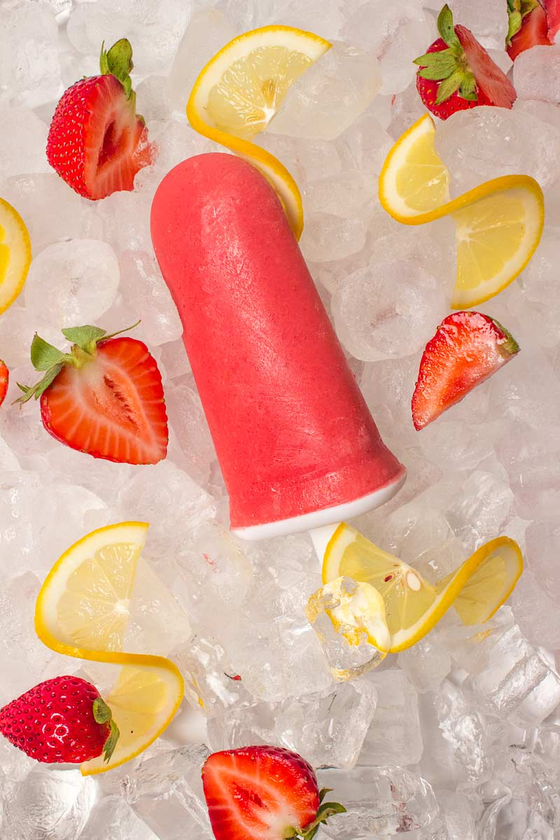 close-up of a Sugar Free Strawberry Lemonade Popsicle