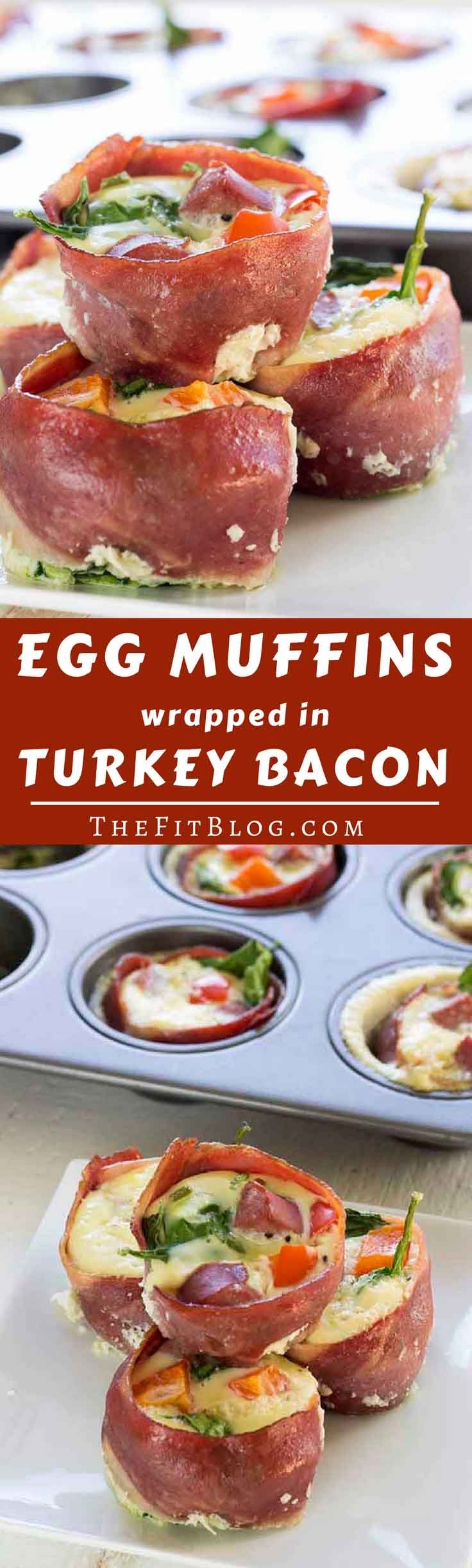 Healthy Egg Muffins With Lean Turkey Bacon - These healthy egg muffins take hardly any effort to make, taste amazing, and can be stored and reheated the next day. What more could you wish for in a recipe? (low carb, high protein, paleo, gluten free, diabetes friendly)
