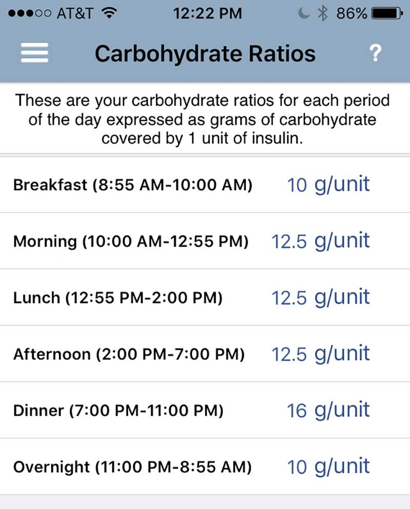 Carb sensitivities in the RapidCalc app