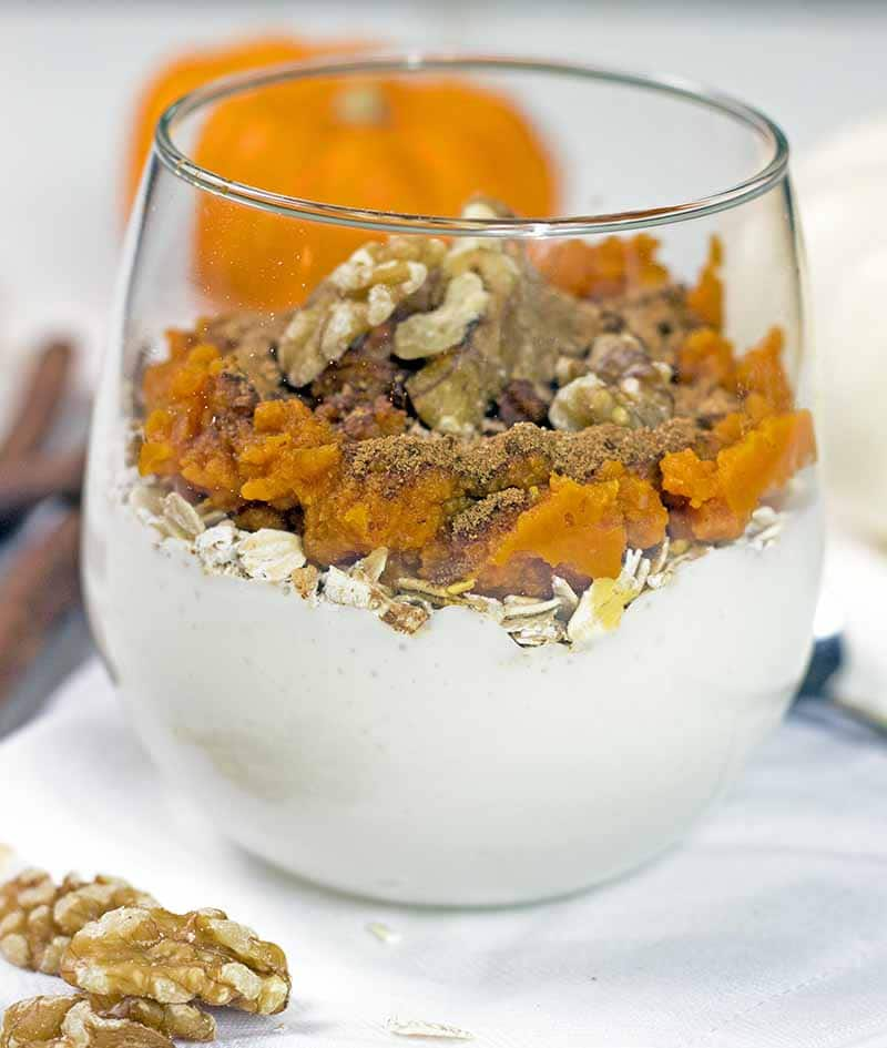 High-protein pumpkin overnight oats before mixing the ingredients