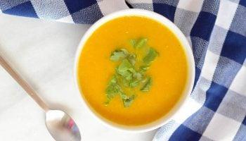 Creamy Kabocha Squash and Cauliflower Soup (Dairy-Free with Vegan Option)