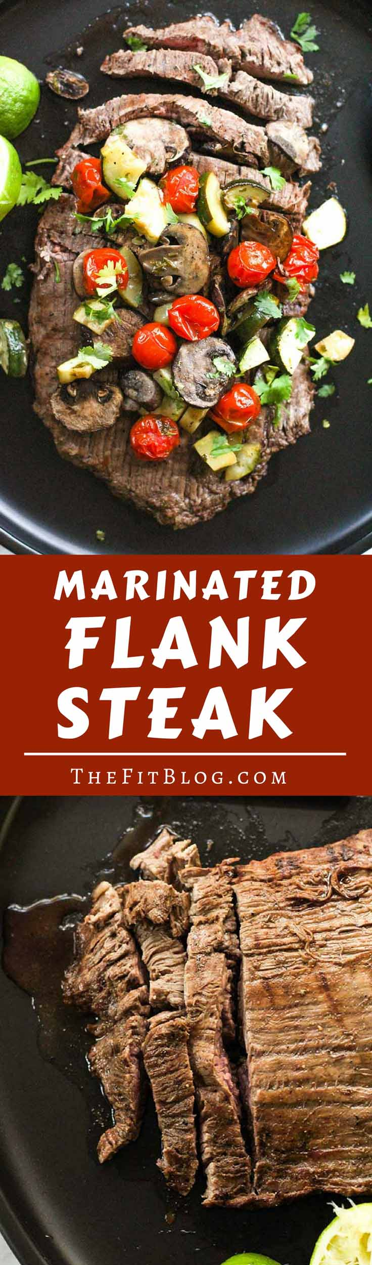 This Marinated Flank Steak with Roasted Mushrooms, Tomatoes, and Zucchini is perfect for any time of the year. Super juicy and flavorful! (high protein, low carb, sugar free, gluten free, diabetes friendly, Paleo, Whole 30)