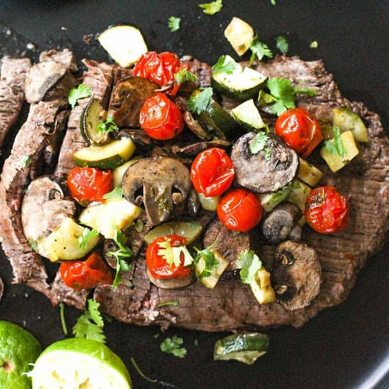 Marinated Flank Steak With Veggies (high protein, low carb, sugar free, gluten free, diabetes friendly, Paleo)