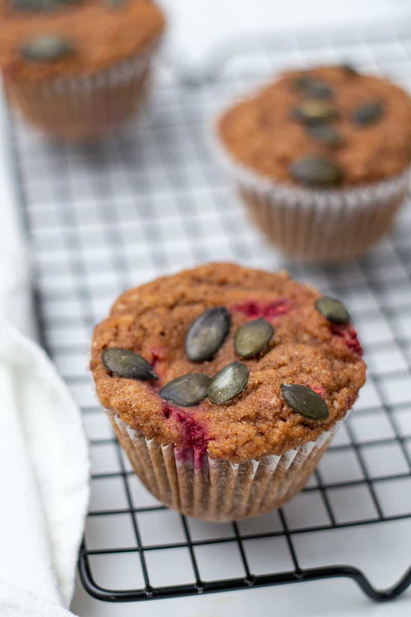 Close-up of a pumpkin raspberry muffin