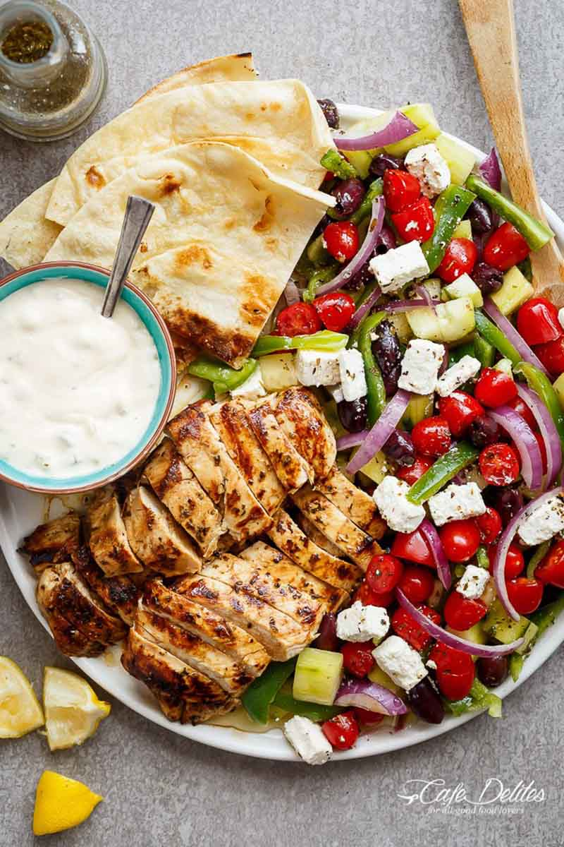 Lemon Garlic Chicken Greek Salad