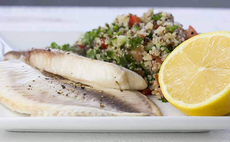 Marinated fish and quinoa pilaf