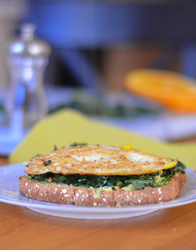Roasted Avocado Garlicky Kale Eggs on Toast