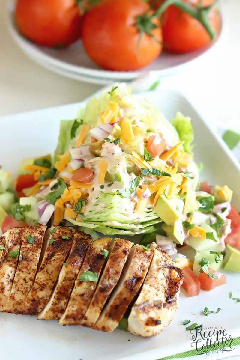 Chicken fajita wedge salad