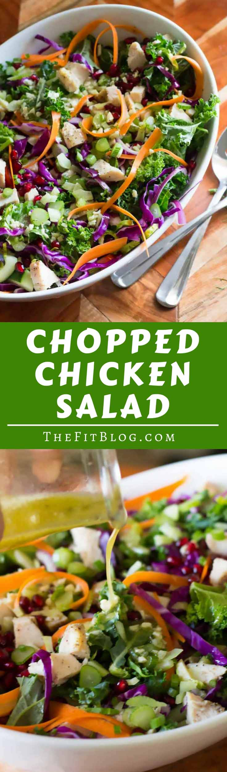 Chopped Chicken Salad utilizes seasonal fruits and vegetables and easy baked chicken to create a hearty, colorful, protein-packed salad! |thefitblog.com