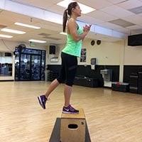 Box step ups with squat