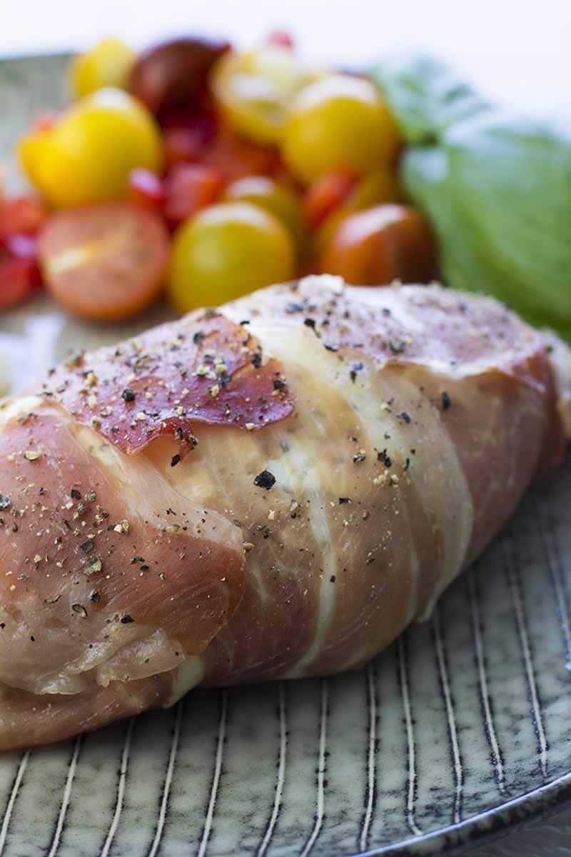 Prosciutto Wrapped Chicken Breast with Cream Cheese