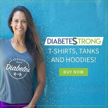 Christel in a Strong With Diabetes T-shirt besides a BUY NOW button.