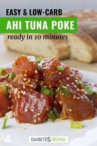 Ahi poke with a piece of bread