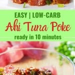 Two photos of tuna poke