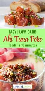 Two photos of tuna poke