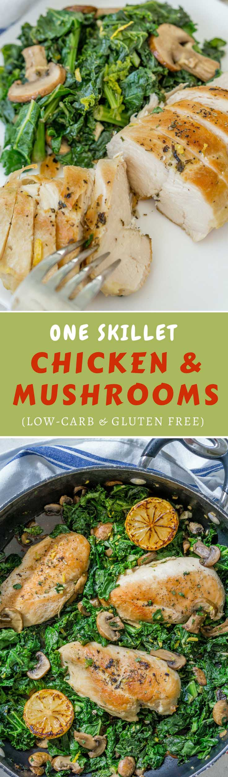 This one-pan Healthy Chicken and Mushroom Skillet with kale is ready in just 35 minutes with minimal cleanup. The lemony garlicky flavor of this dish will have you reaching for seconds! #chickenrecipe #chickenskillet #lowcarbrecipe #kale #onepan #oneskillet #chickendinner #mushroomchicken