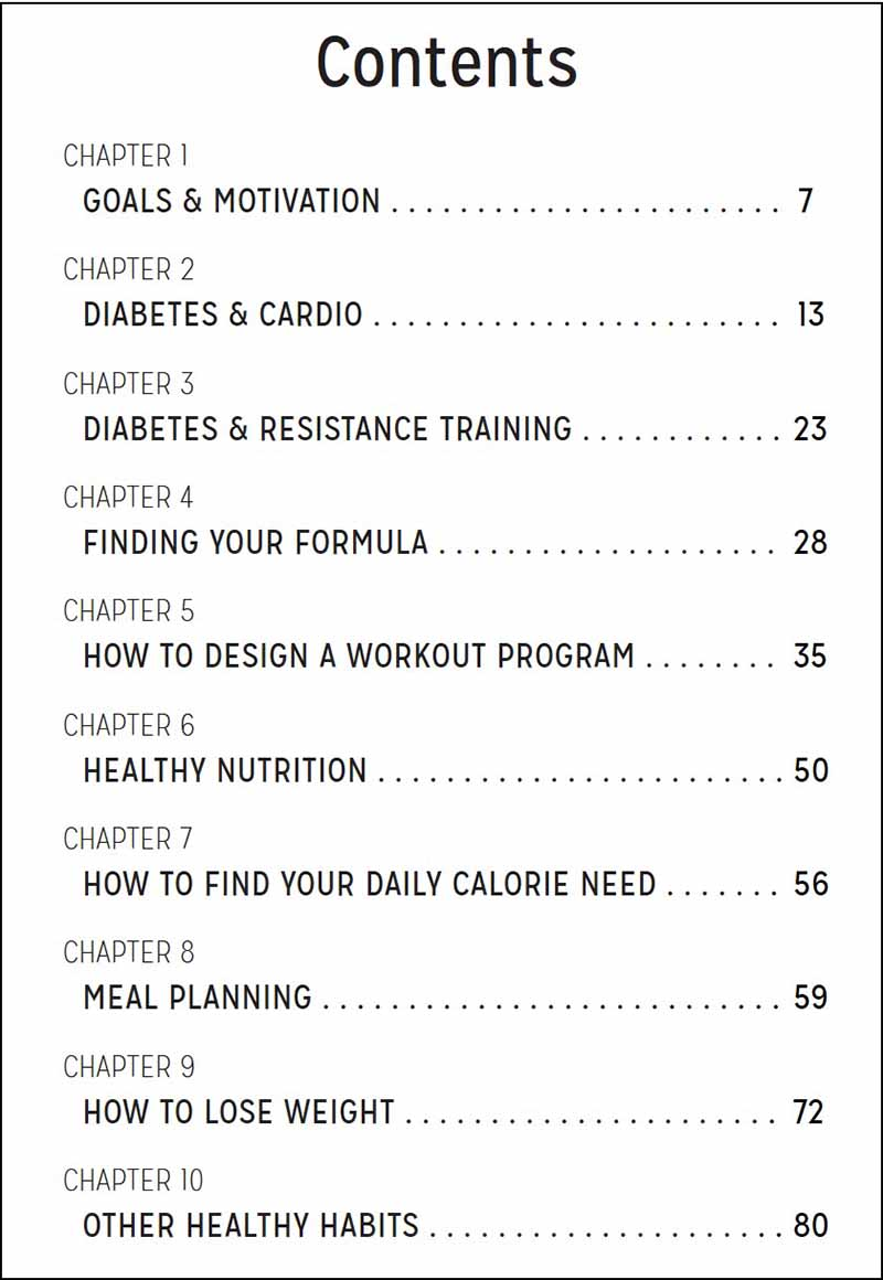 Fit With Diabetes eBook table of contents