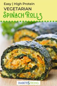 Healthy vegetarian spinach rolls