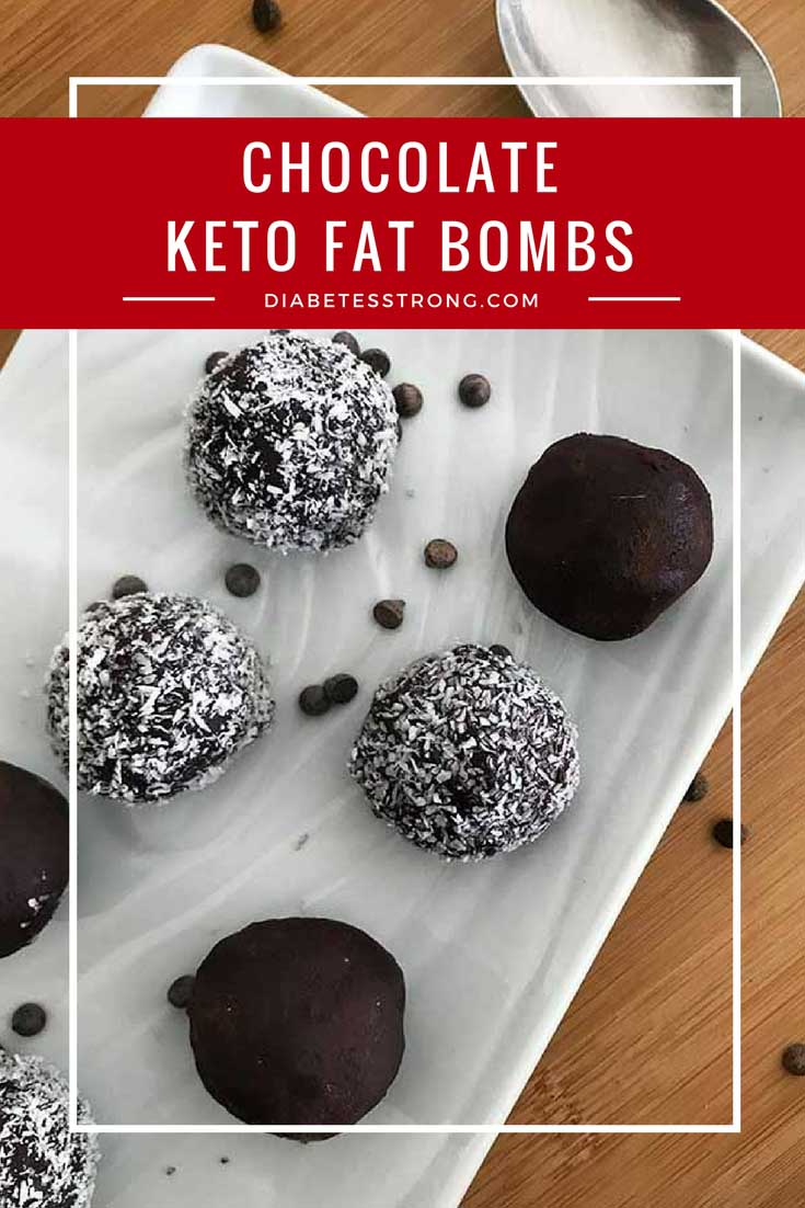 On the keto diet and craving a chocolatey treat? Look no further than these Chocolate Keto Fat Bombs! They're packed with five sources of healthy fat and contain only 4 grams of net carbs per serving #keto #ketorecipes #ketofatbomb #fatbombs #ketogenic #diabetesdiet #diabetesrecipes #diabeticdiet #diabeticfood #diabeticrecipe #diabeticfriendly #lowcarb #lowcarbdiet