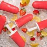 Healthy strawberry lemonade popsicles