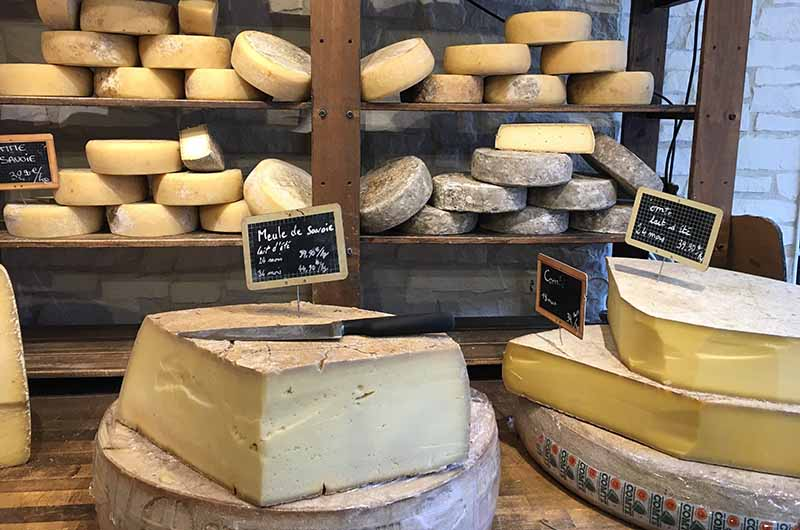 Block of cheese in a cheese shop