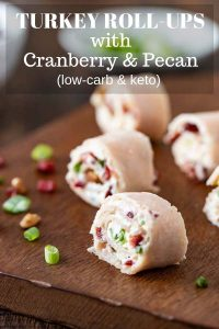 Healthy turkey roll-ups with cranberry and pecan